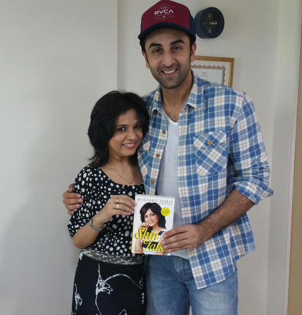 Ranbir Kapoor Showing his copy of Skintalks
